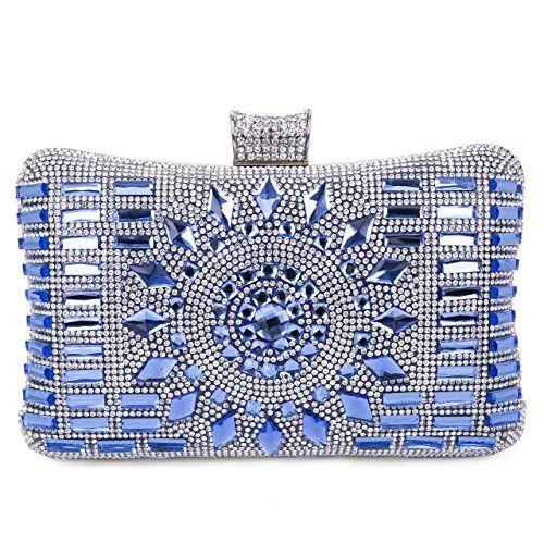 6e01b4944e9b Tanpell Women s Geometric Diamante Evening Banquet Party Clutch Bags Royal  Blue