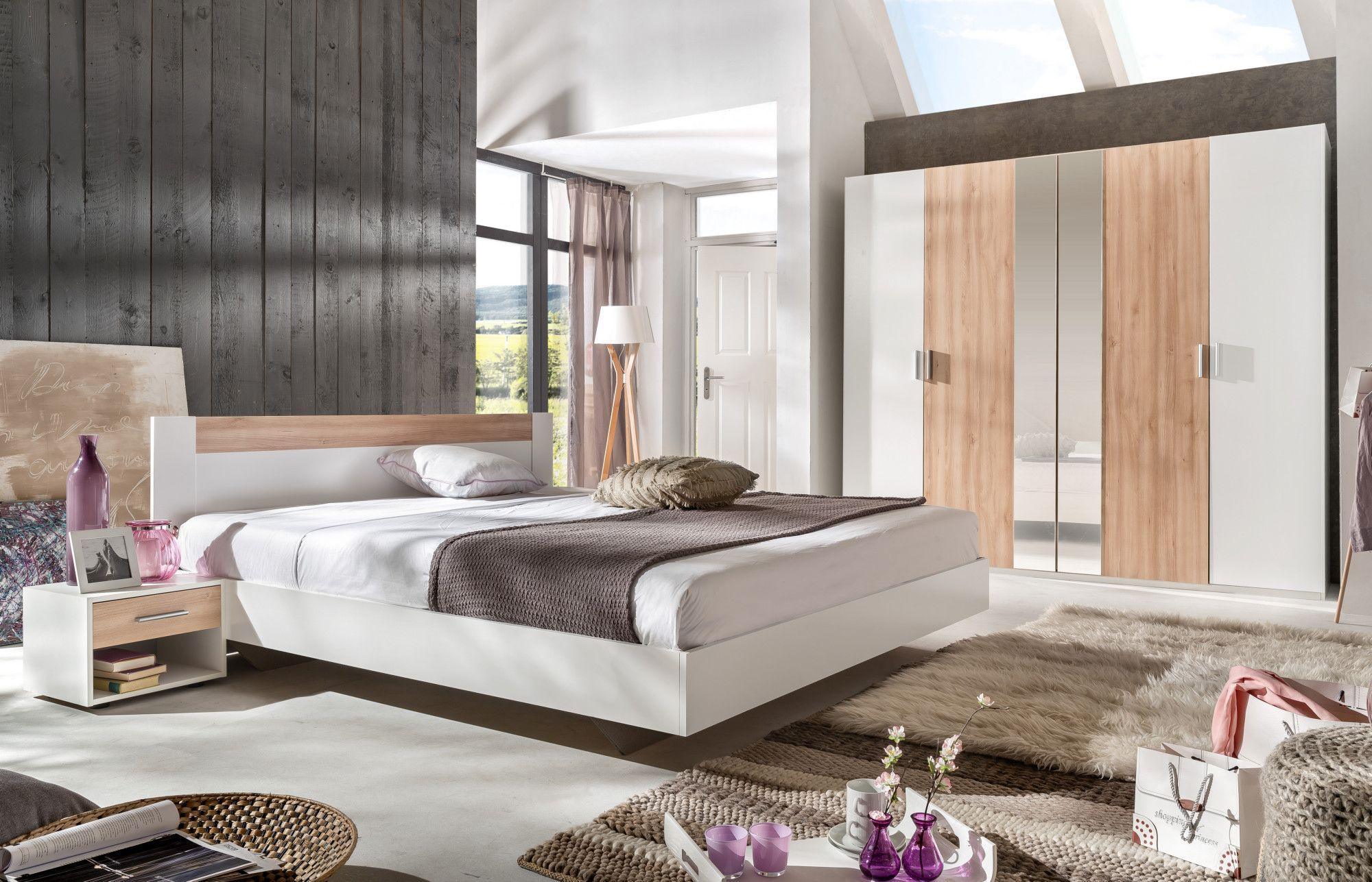 Schlafzimmer Mit Bett 180 X 200 Cm Alpinweiss/ Edelbuche Woody 132 01534 Holz  Modern