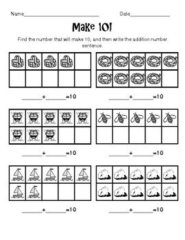 Make 10 Worksheet Addition To 10 With 10 Frames Math Addition Elementary Math Math Classroom
