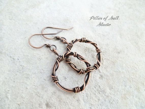 Wire Wrapped Earrings Solid Copper Earrings Wire Wrapped Jewelry Handmade Earthy Rustic Barbed Wire Circle Hoop Earrings Wire Wrapped Earrings Wire Wrapped Jewelry Wire Jewelry