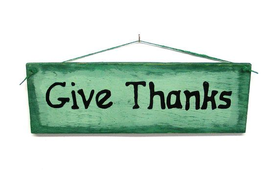Give Thanks Wood Sign Plaque Hand Lettered Primitive Home Decor
