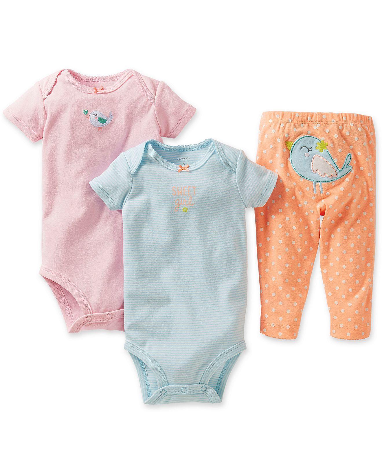 4d57045b3903 Carter s Baby Girls  3-Piece Birdie Bodysuits   Pants Set - Kids ...