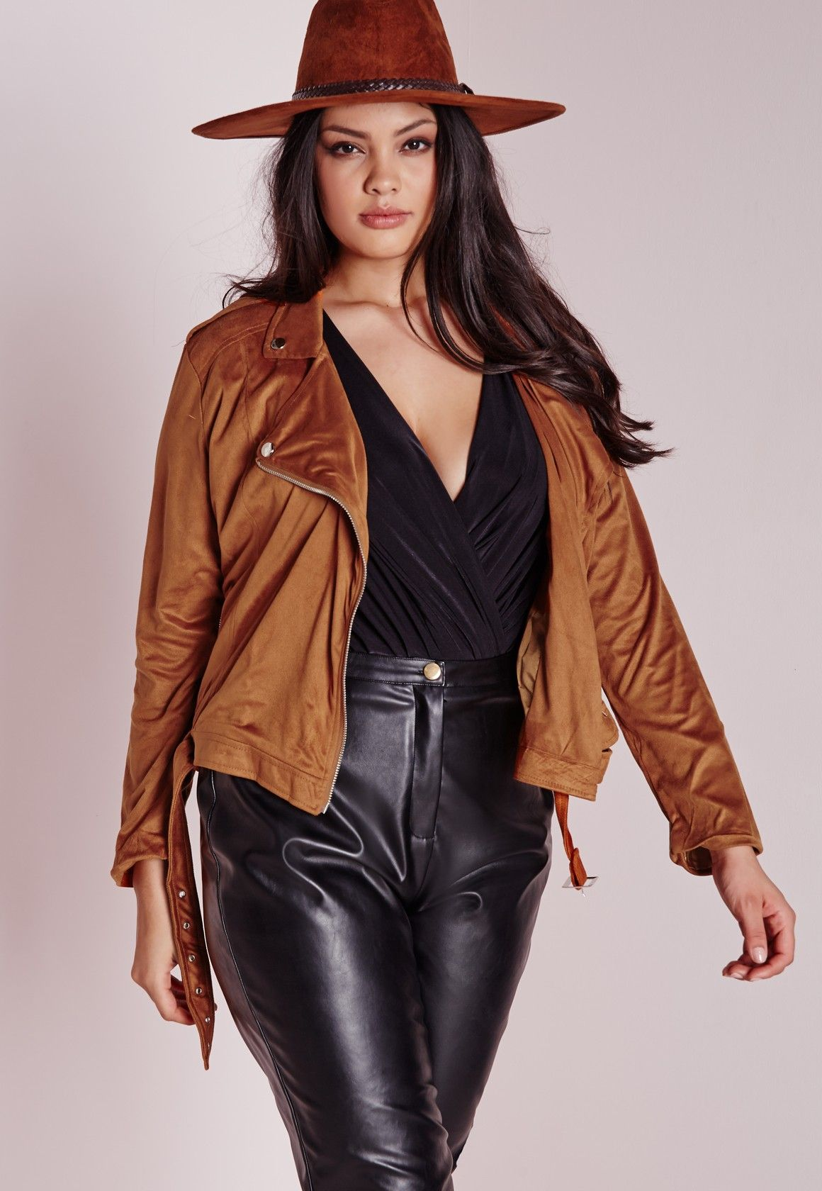 1ec3ed812c3 Missguided - Plus Size Faux Suede Biker Jacket Tan
