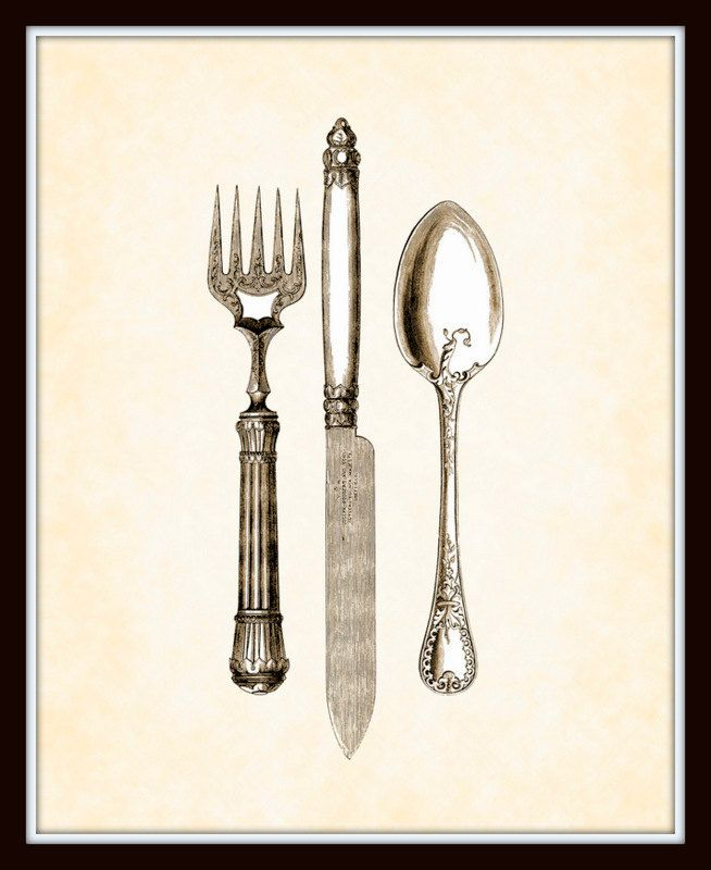 Antique Utensils In Sepia Plate 1 Home Decor 8x10 Art