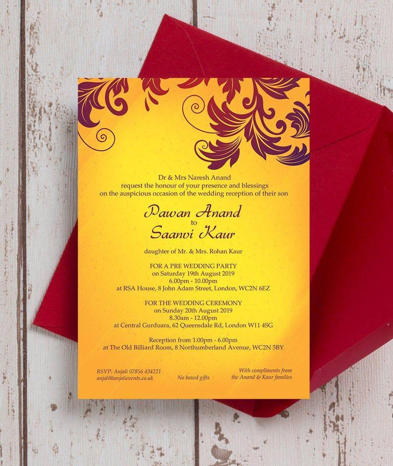 Personalised Yellow Burgundy Asian Wedding Mehndi Invitation Etsy Asian Wedding Invitations Yellow Wedding Invitations Indian Wedding Invitation Cards