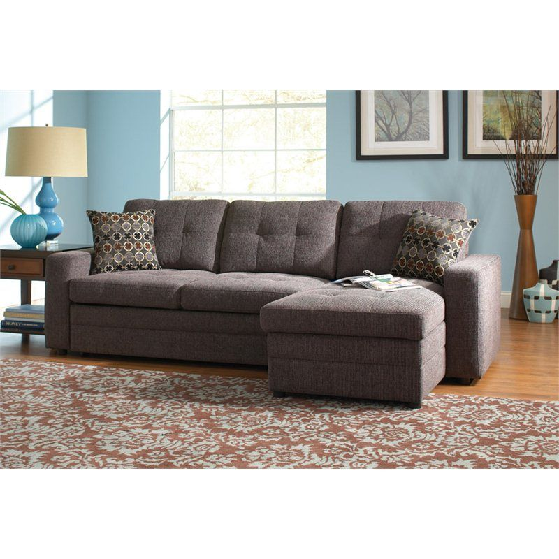 Best Coaster Chenille Sleeper Sofa With Storage In Charcoal And 640 x 480
