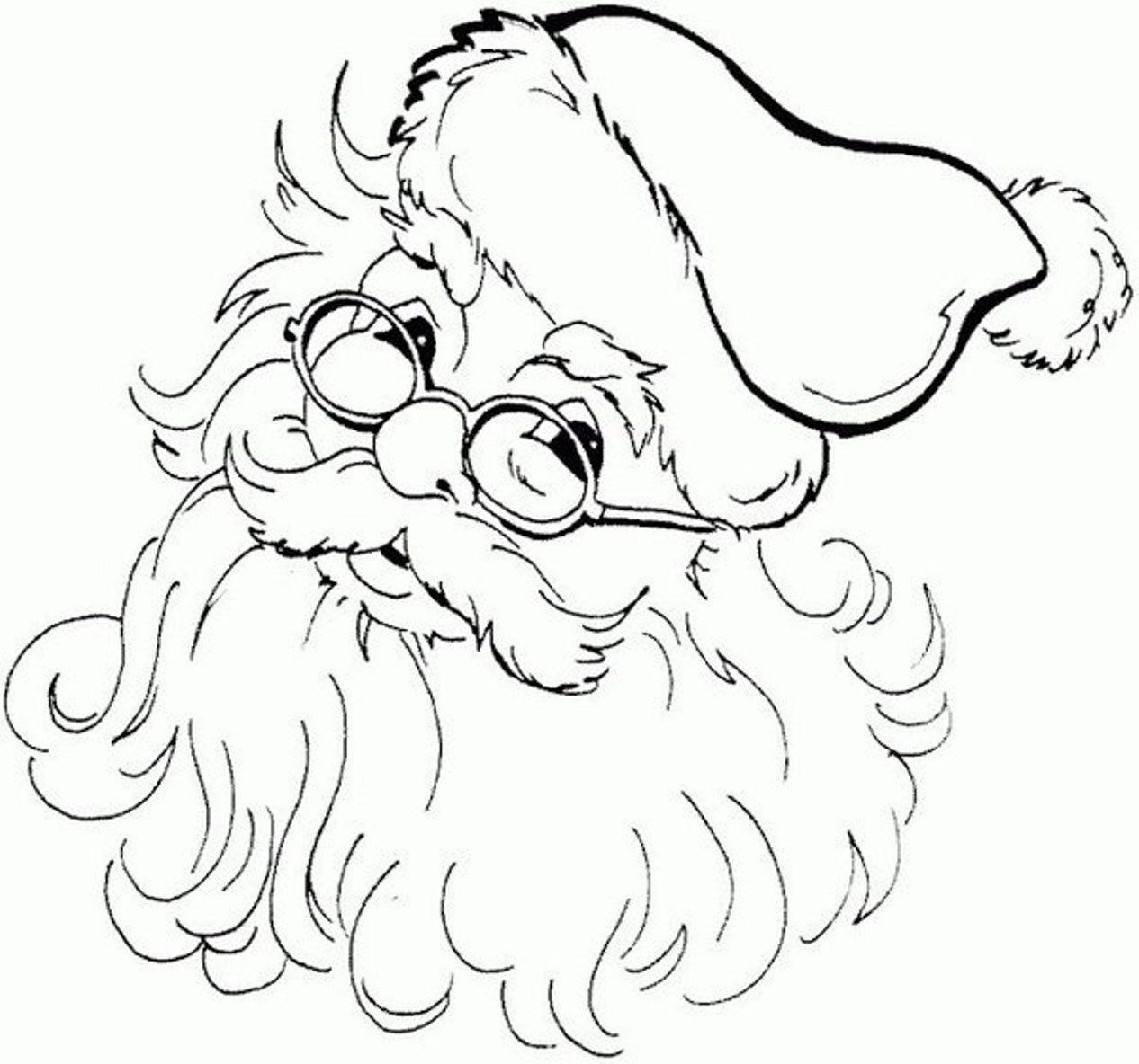 Images For > Santa Claus Face Black And White | silhouettes ...