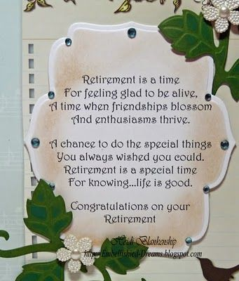 Embellished Dreams: Retirement Card. View 2 - enlargement of front ...