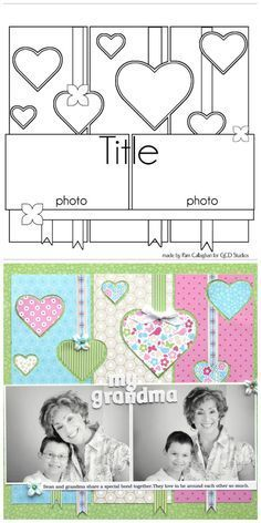 12×12 scrapbook layout that I would love to do as soon as I get my Silhouette Cameo. Photo credit gcd studios blog, (I merged the two images in Pickmo…