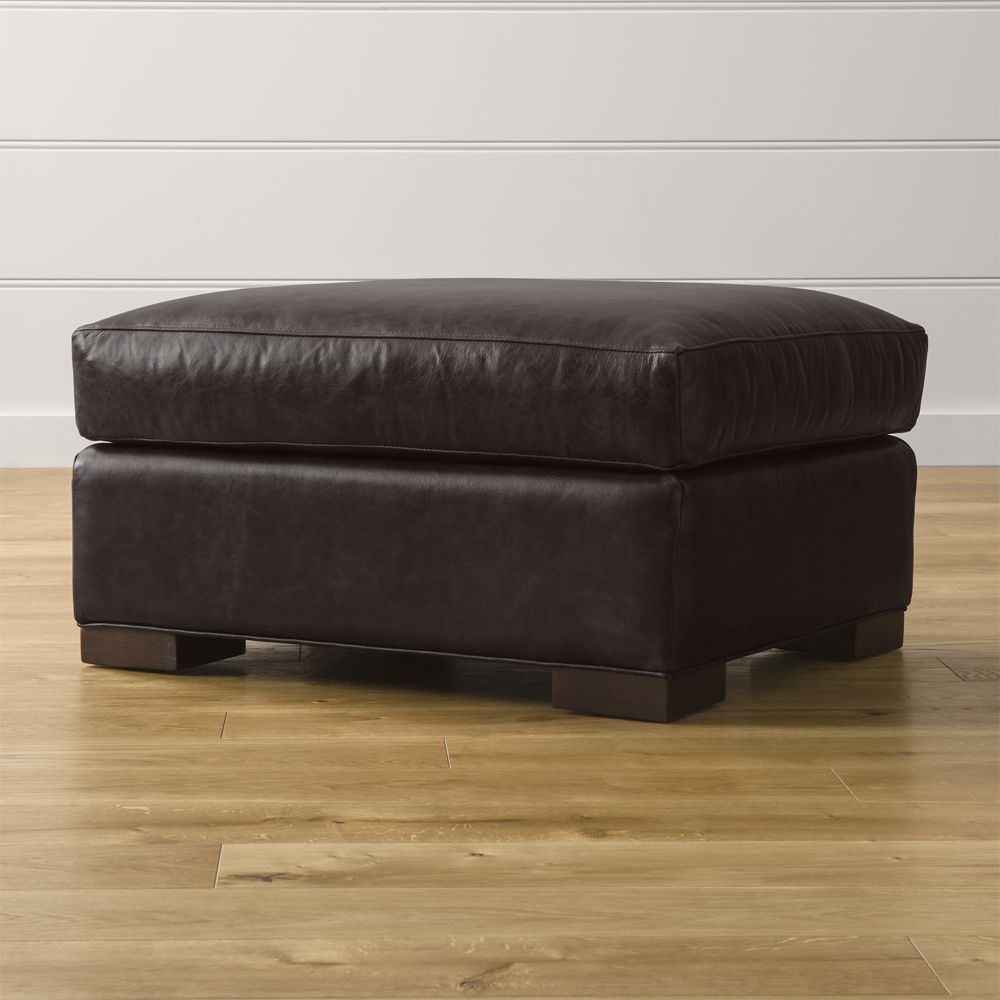 Axis II Leather Ottoman - Crate and Barrel