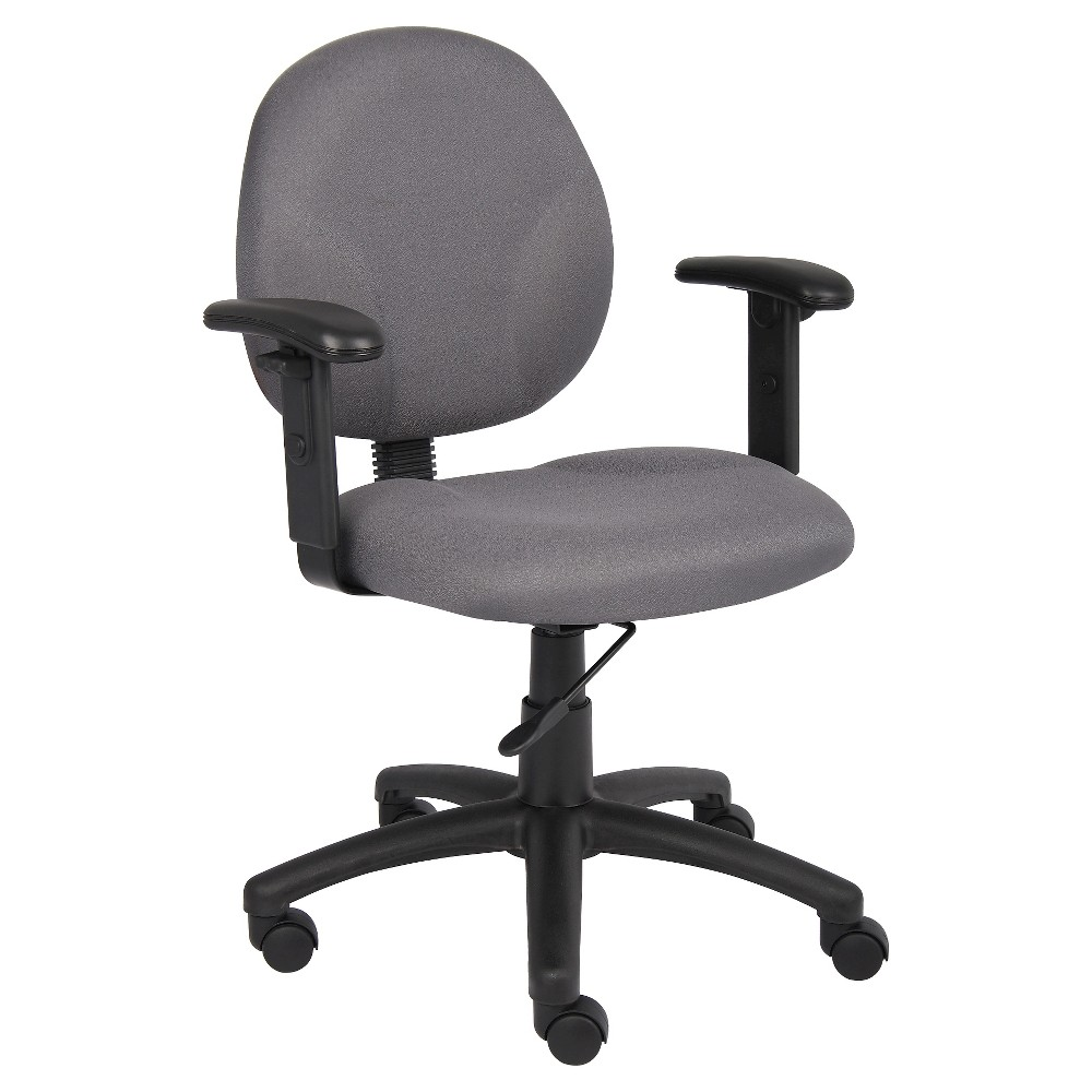 Diamond Task Chair in with Adjustable Arms Grey - Boss Office Products