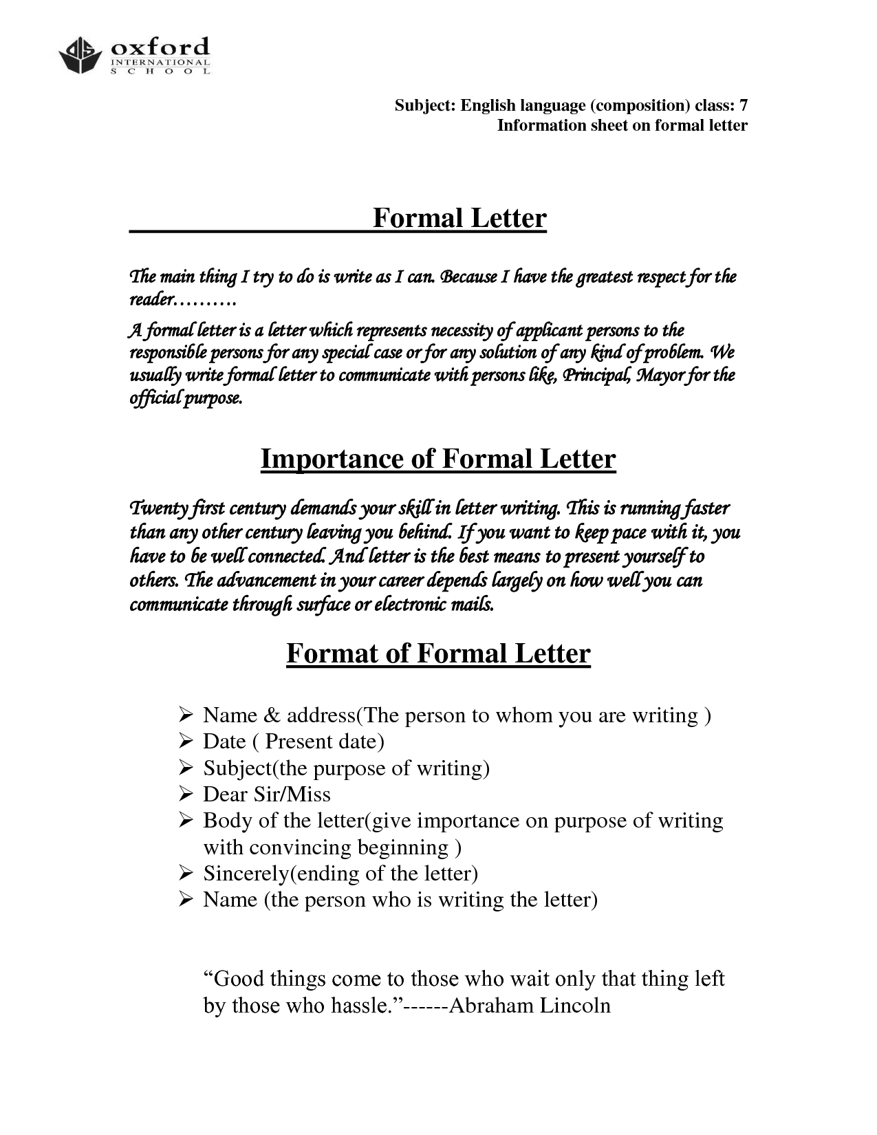 Official Letter Format Templateofficial Letter Business Letter