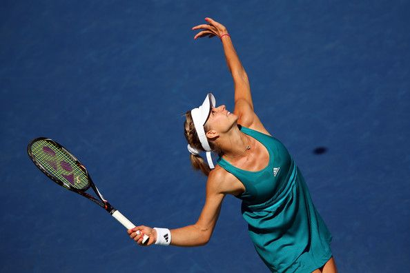 Maria Kirilenko of Russia serves against Greta Arn of Hungary during Day Four of the 2012 US Open