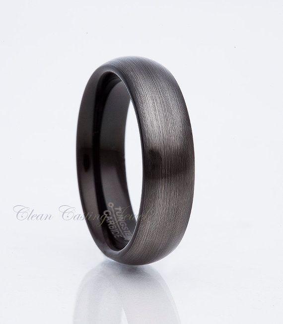 8mm Black Dome Finger Print Pipe Cut Titanium Men/'s Wedding Band Ring