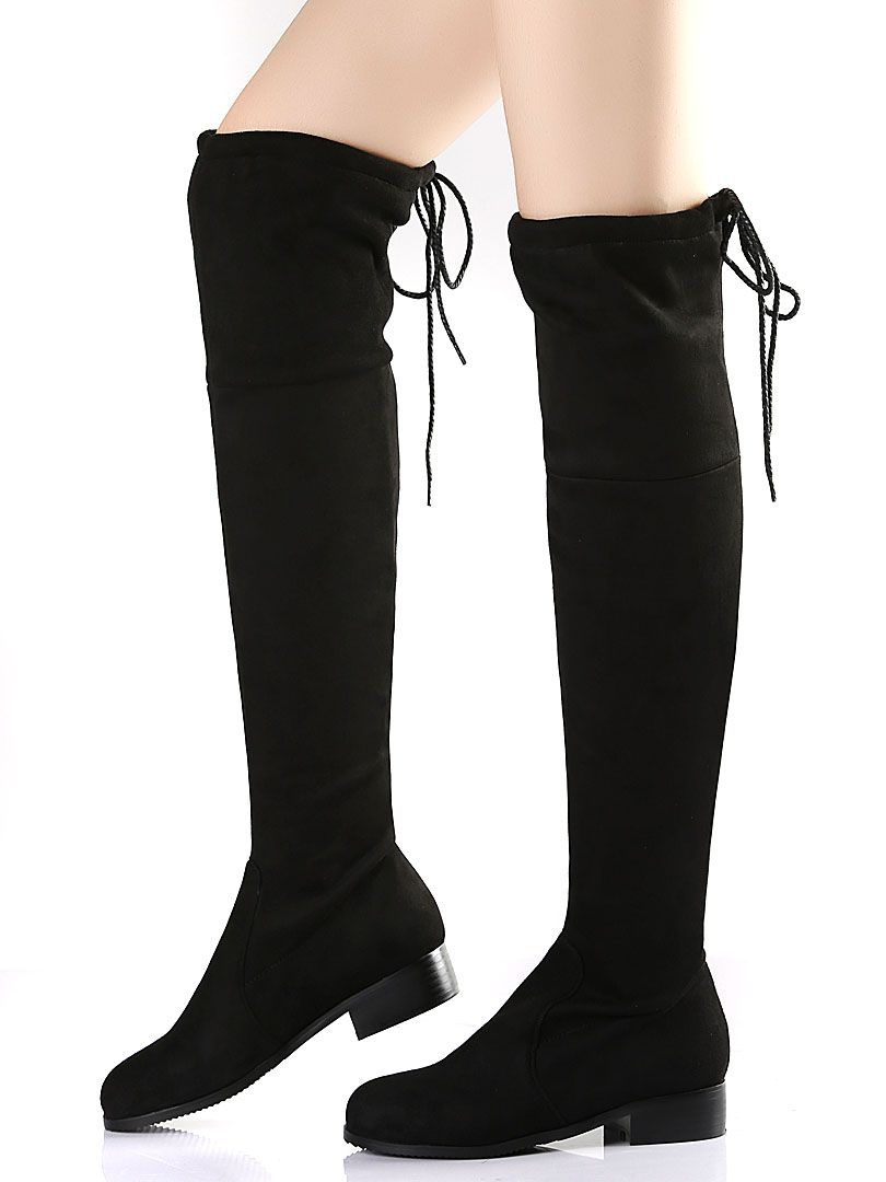 67353f1438ca Black Suedette Pointed Laced Back Over The Knee Flat Boots
