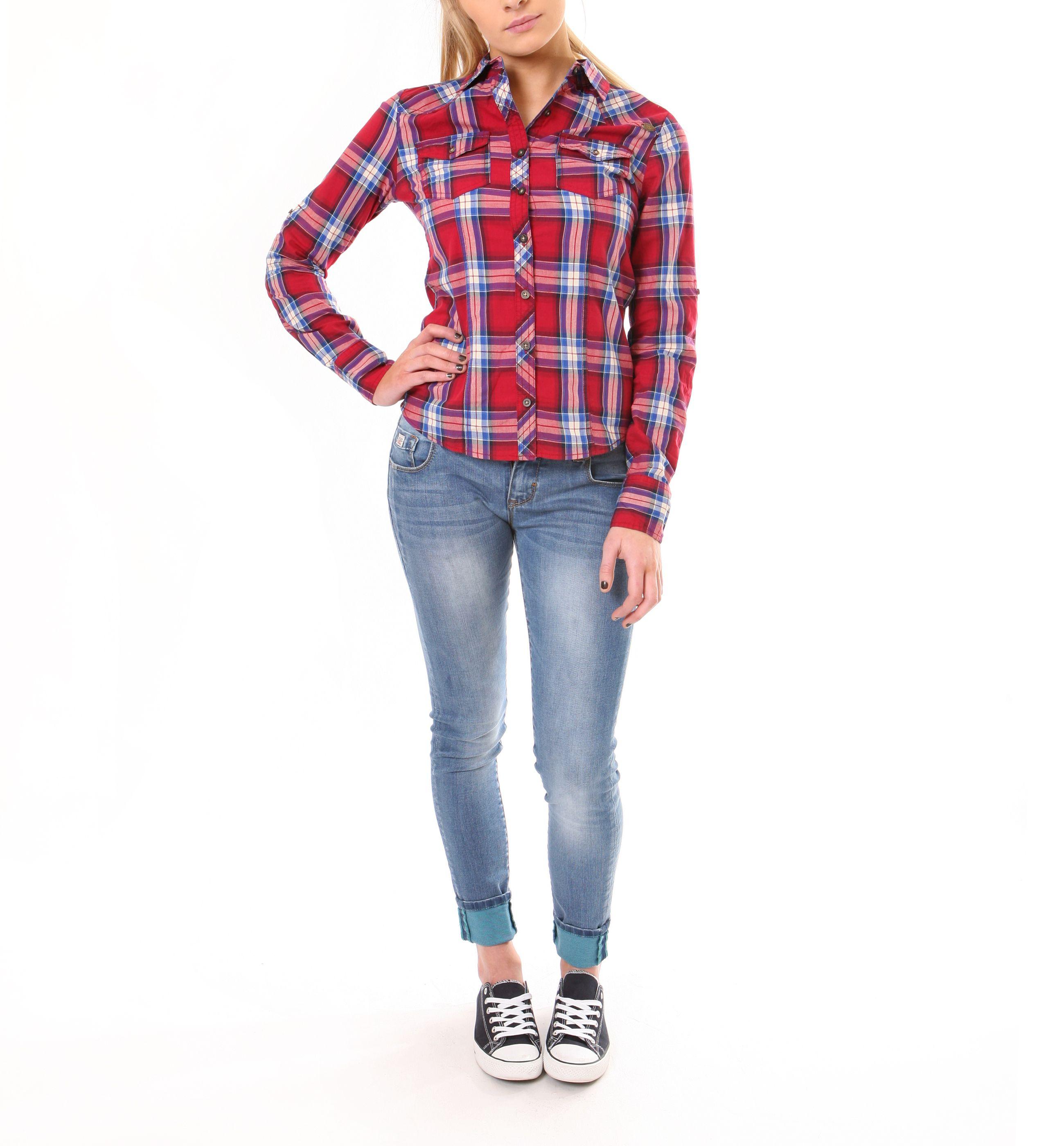 Diesel ladies fitted red check shirt 3999 ladies skinny