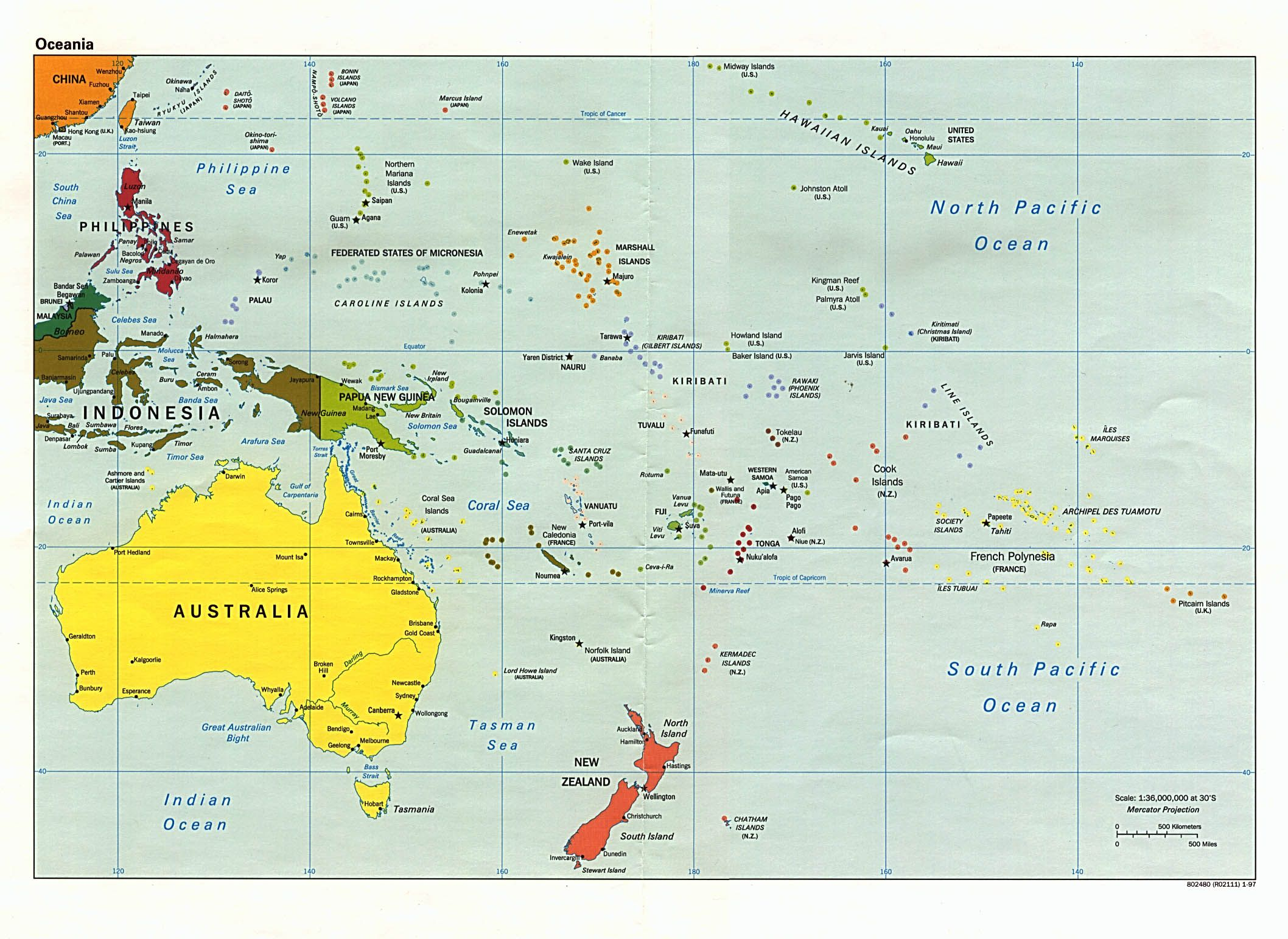 Australia, Fiji, Kiribati, Marshall Island, Papa New Guinea, Samoa, Federated States of Micronesia, Nauru, Tonga, New Zealand, Tuvalu, Vanuatu, Palau, Solomon Islands,