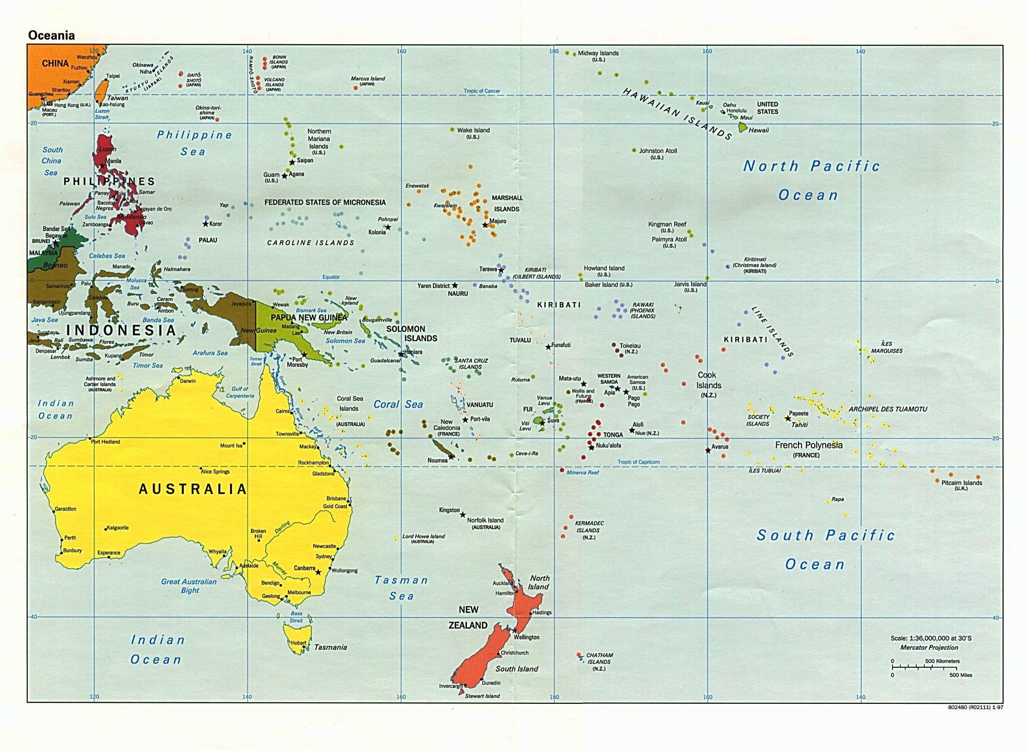 Australia Fiji Kiribati Marshall Island Papa New Guinea Samoa