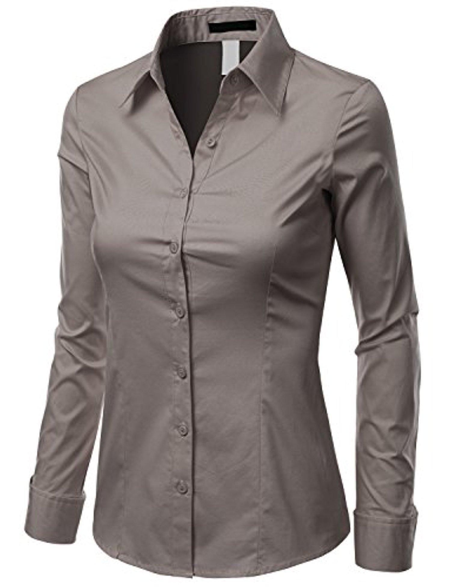Doublju Us Xs Women Fashionable Long Sleeve Slim Fit Button Down Shirt Gray 1x Basic Long Sleeve Spandex Shirts Fashion [ 1953 x 1500 Pixel ]