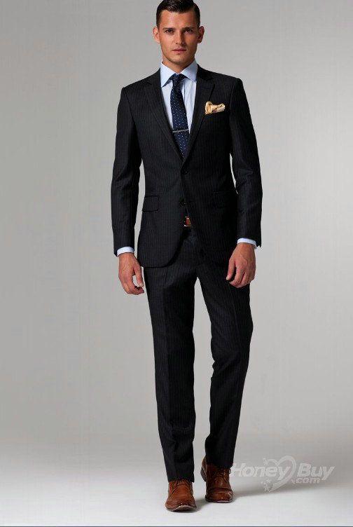 2 Custom Made Suits Gentleman Style Black Pinstripe Suit