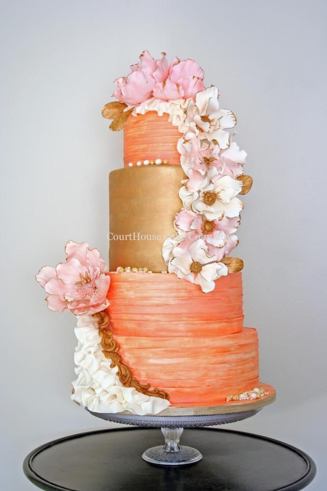 orange and gold wedding cake orange and gold wedding cake with pink and white floral 18035