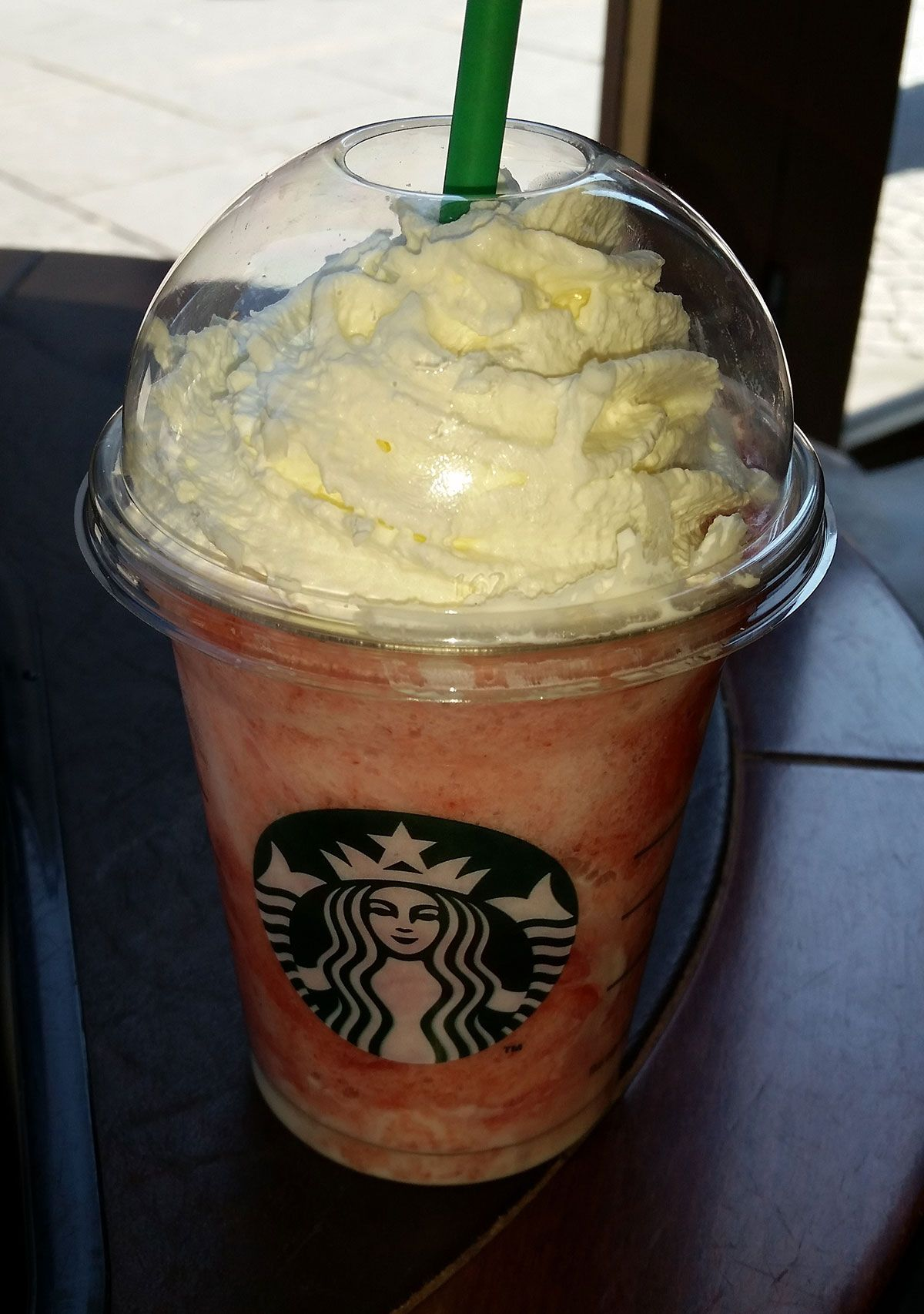 Strawberries and Cream frappachino at Starbucks, Sheffield, South Yorkshire