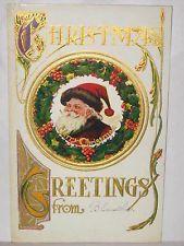 1910 POSTCARD CHRISTMAS GREETINGS - SANTA CLAUS IN WREATH