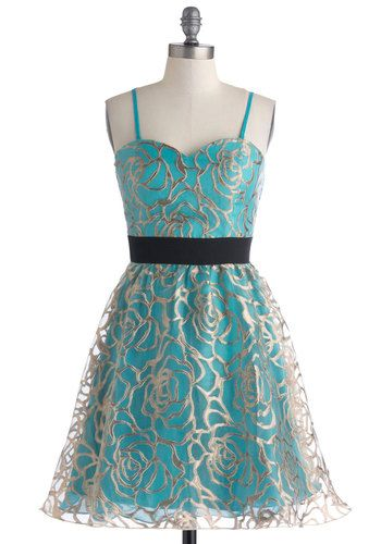 Name on the Marquee Dress - Short, Blue, Black, Gold, Floral, Cocktail, Empire, Strapless, Sweetheart, Prom