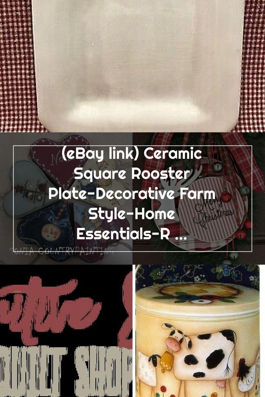 (eBay link) Ceramic Square Rooster Plate-Decorative Farm Style-Home Essentials-Rustic Decora  #home #garden #homedcor #decorat #fashion