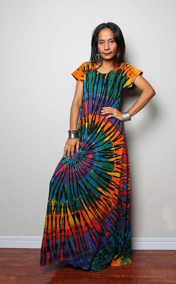 Tie Dye Maxi Dress Long Sexy Boho Cotton Maxi Gown By Nuichan