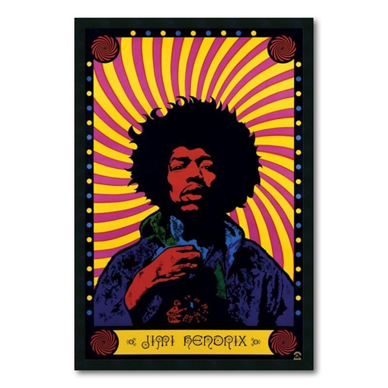 Jimi Hendrix - Psychedelic Framed Wall Art, Multicolor