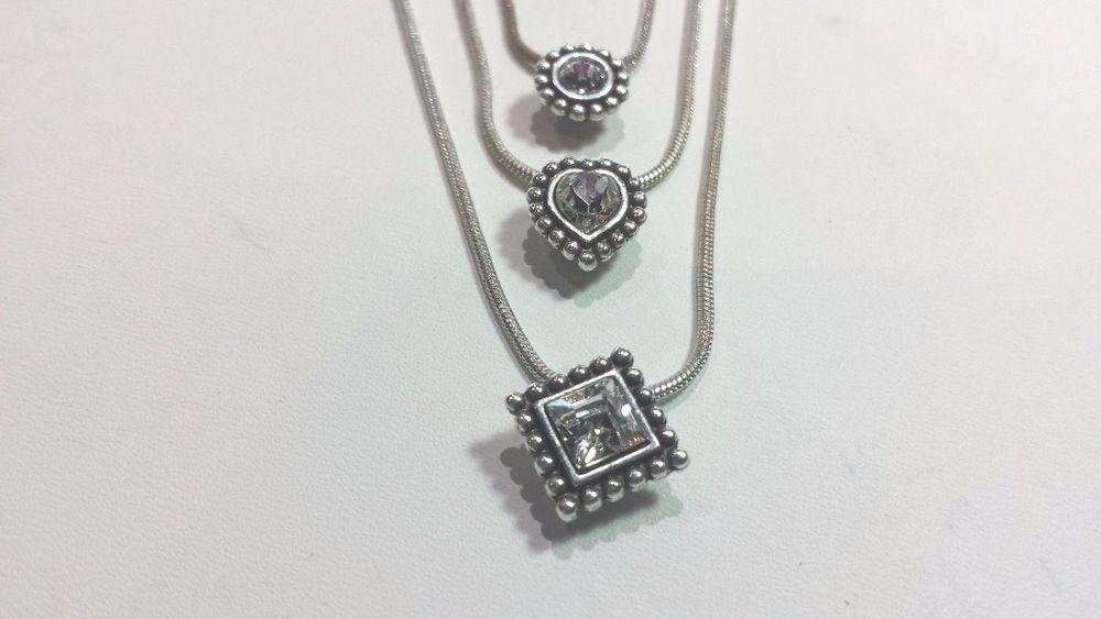 Retired dazzling brighton 3 strand necklace w three clear stone retired dazzling brighton 3 strand necklace w three clear stone charms pendants brighton strandstring aloadofball Gallery