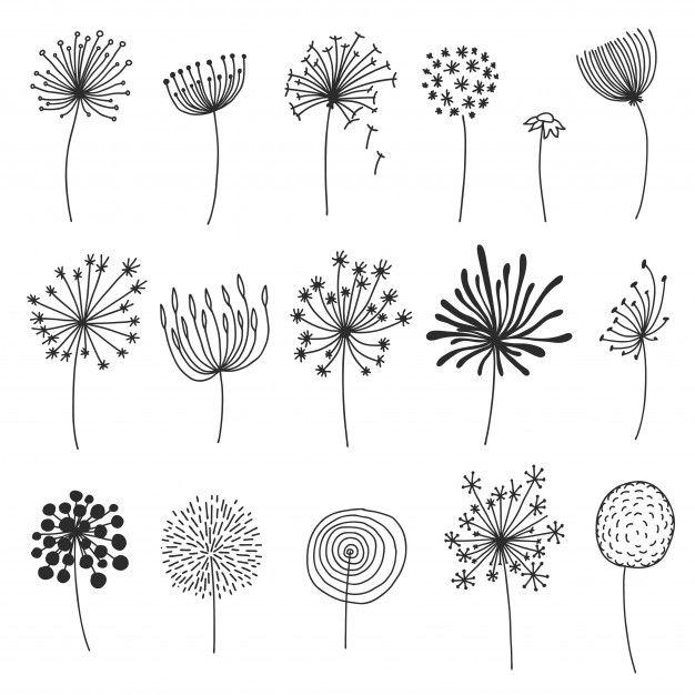 Doodle Dandelion Set. Hand Drawn Blowballs Or Flow