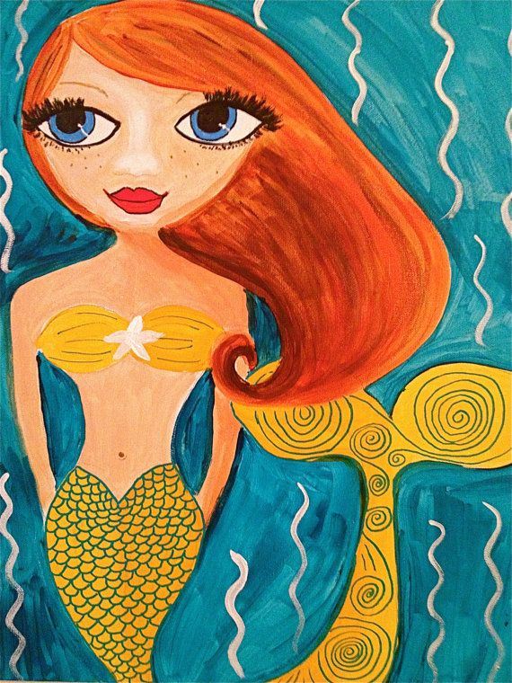 Little Mermaid by BeckysWhimsicalArt on Etsy, $160.00