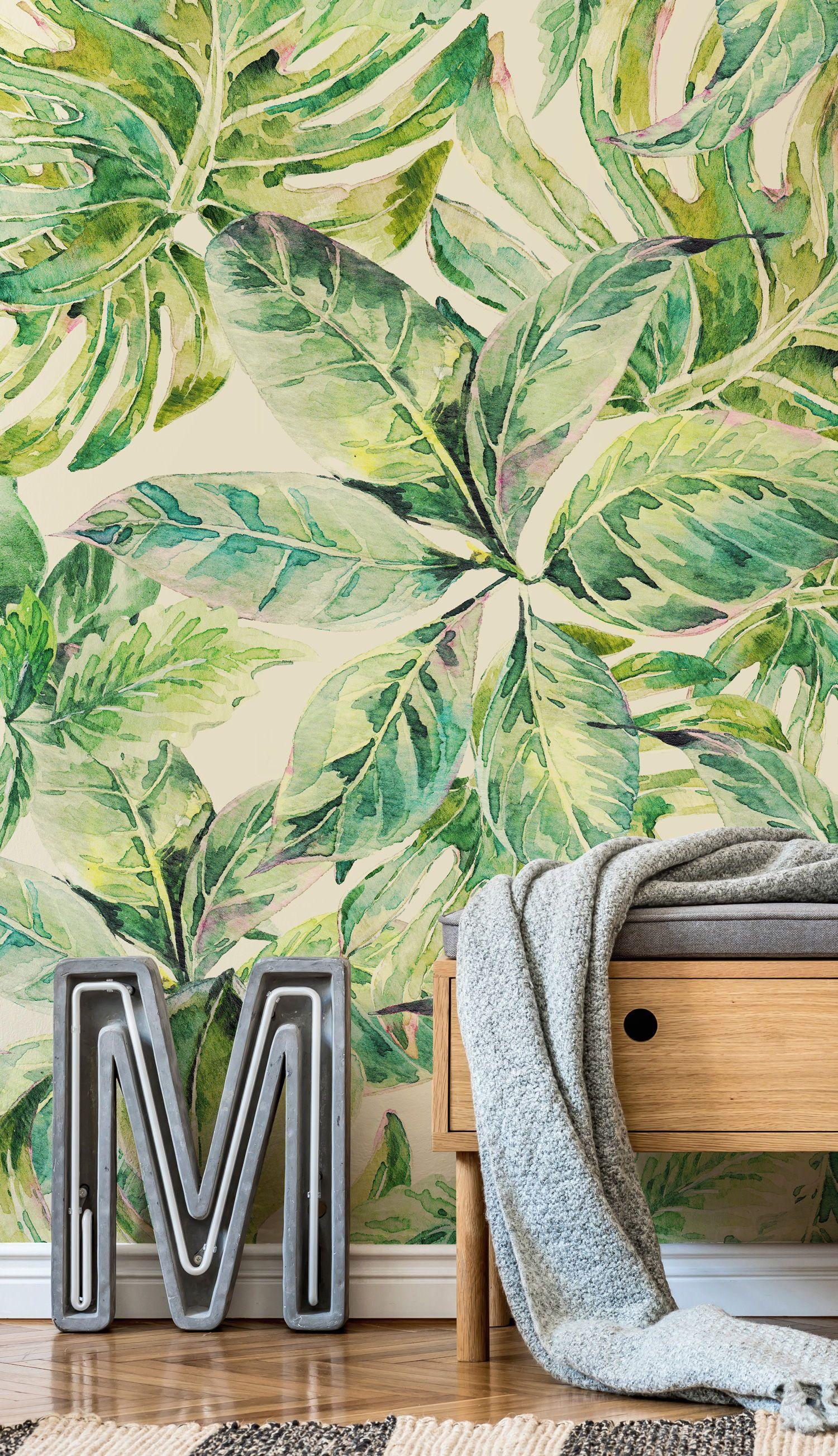 Leaf Wallpaper Wall Murals Wallsauce Eu Leaf Wallpaper Green Leaf Wallpaper Poppy Wallpaper