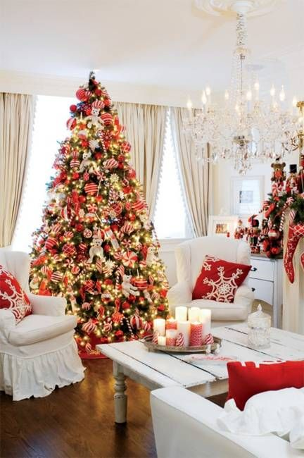 Beautiful Christmas Decor in Charming Old Fashioned Red Colors