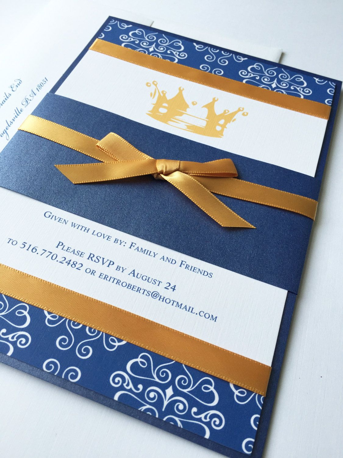Royal Blue and Gold Baby Shower Invitation, Little Prince, Unique ...