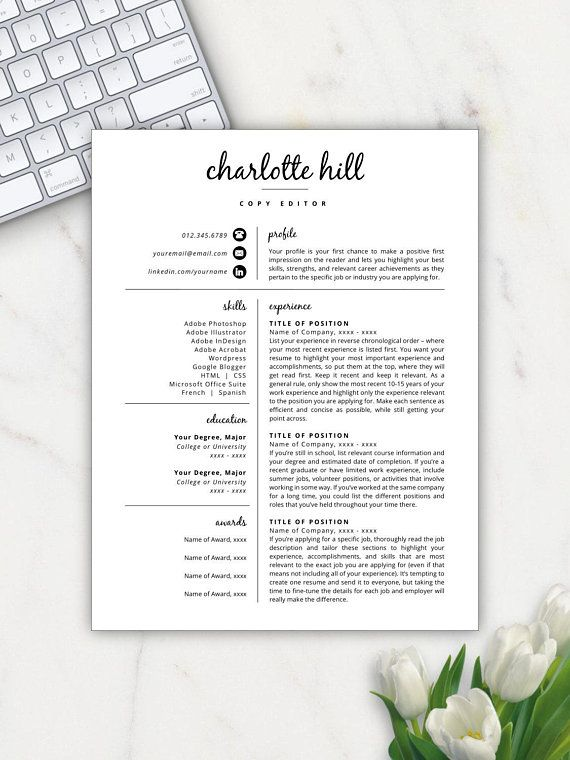 Creative Resume Template Resume Icons Resume Template Word - Copy Editor Resume
