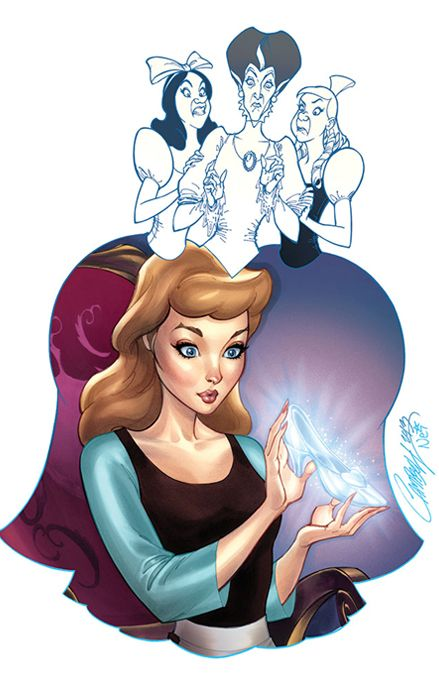 """Her Slipper"" Featuring Cinderella, Lady Tremaine and Her Stepsisters by Artist J. Scott Campbell  - Wonderground Gallery"