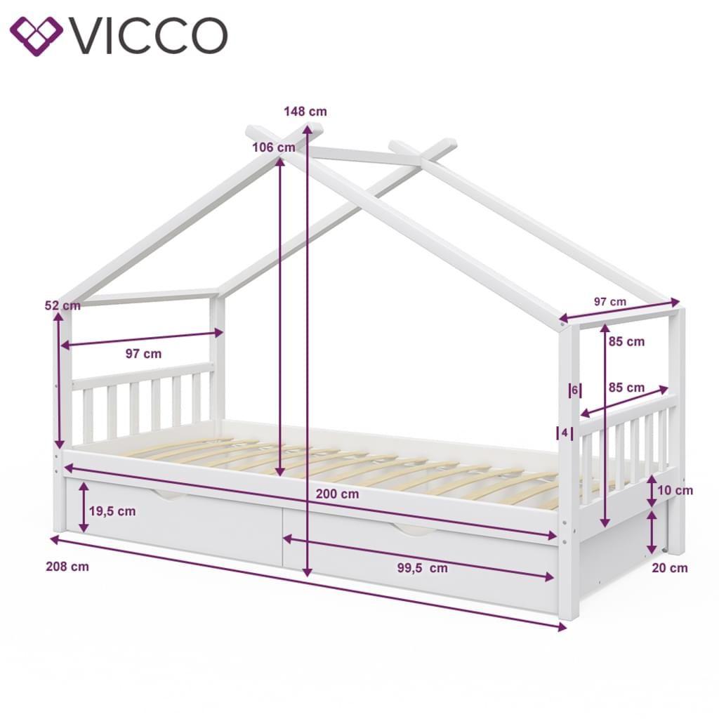 Photo of VitaliSpa Kinderbett DESIGN Hausbett mit Schubladen und Lattenrost in weiß 90x200cm