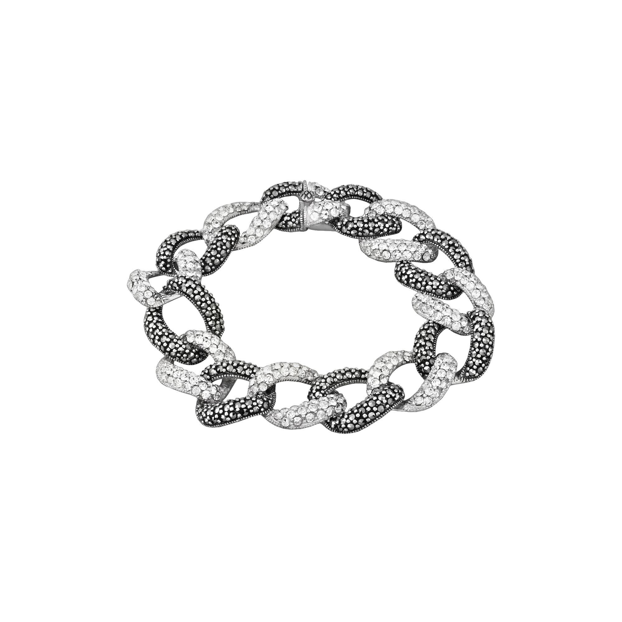 a86754e592ab4 Sterling Silver Marcasite & Simulated Crystal Oval Link Bracelet ...