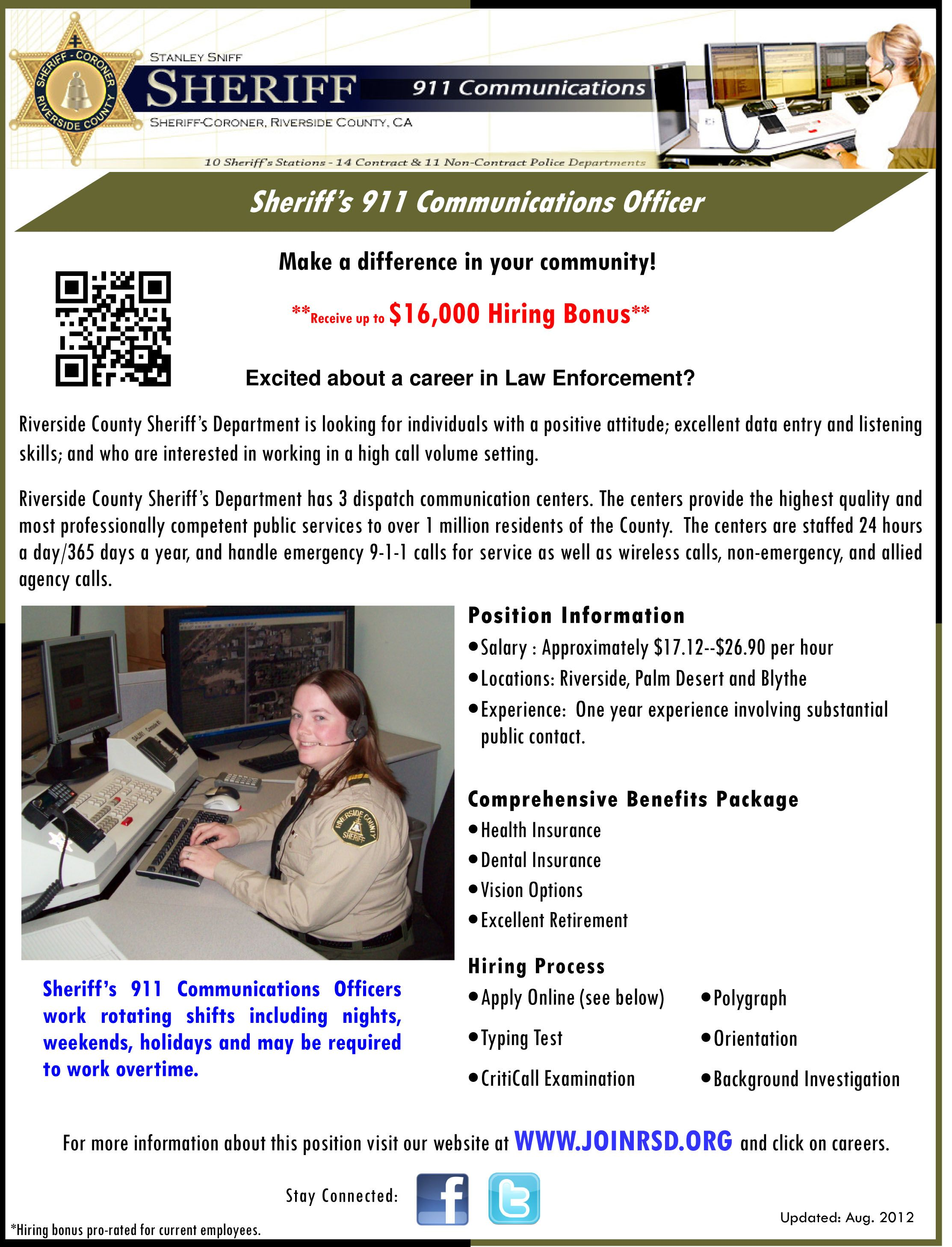 Job openings with the county of riverside sheriffs
