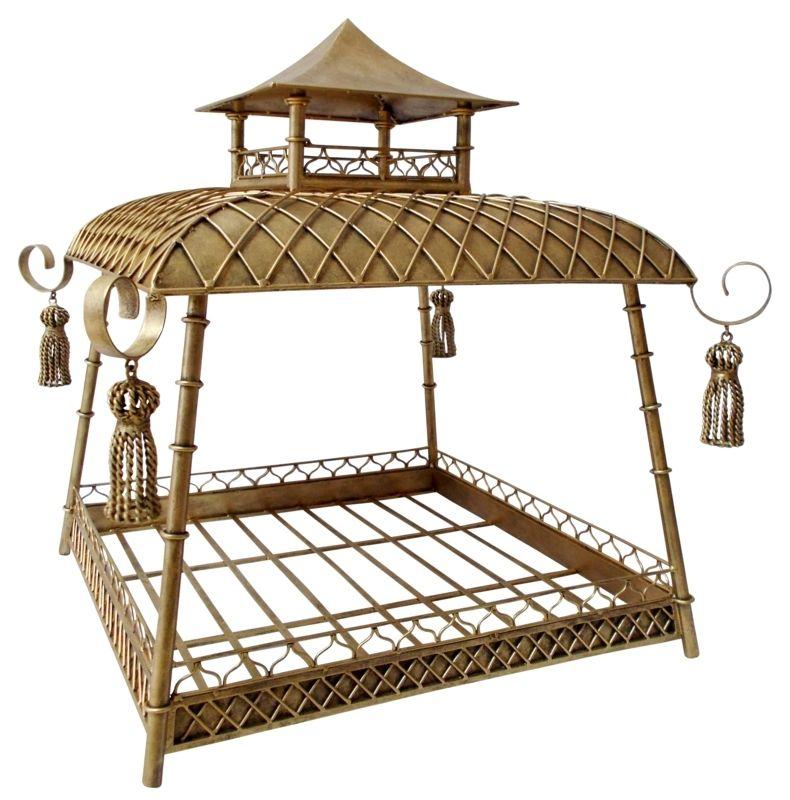 Light Burnished Gold Pagoda Pet Bed by Dr Livingstone I Presume