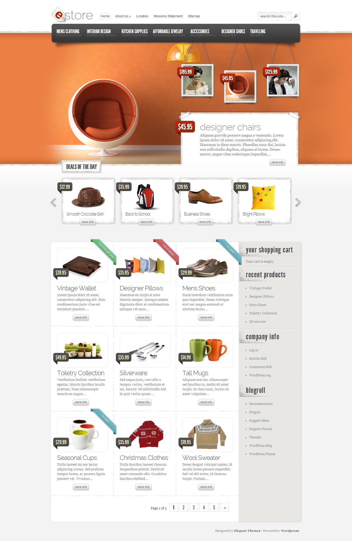 eStore eCommerce WordPress Theme http://www.elegantthemes.com ...