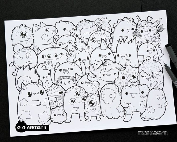 Piccandle Monsters With Images Doodle Coloring Cute Doodles