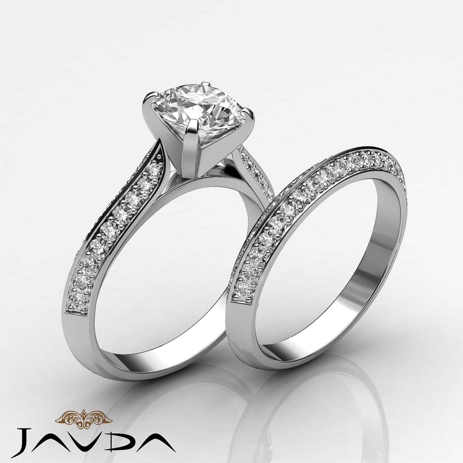 Fine Round Diamond Bridal Set Pave Engagement Ring GIA G