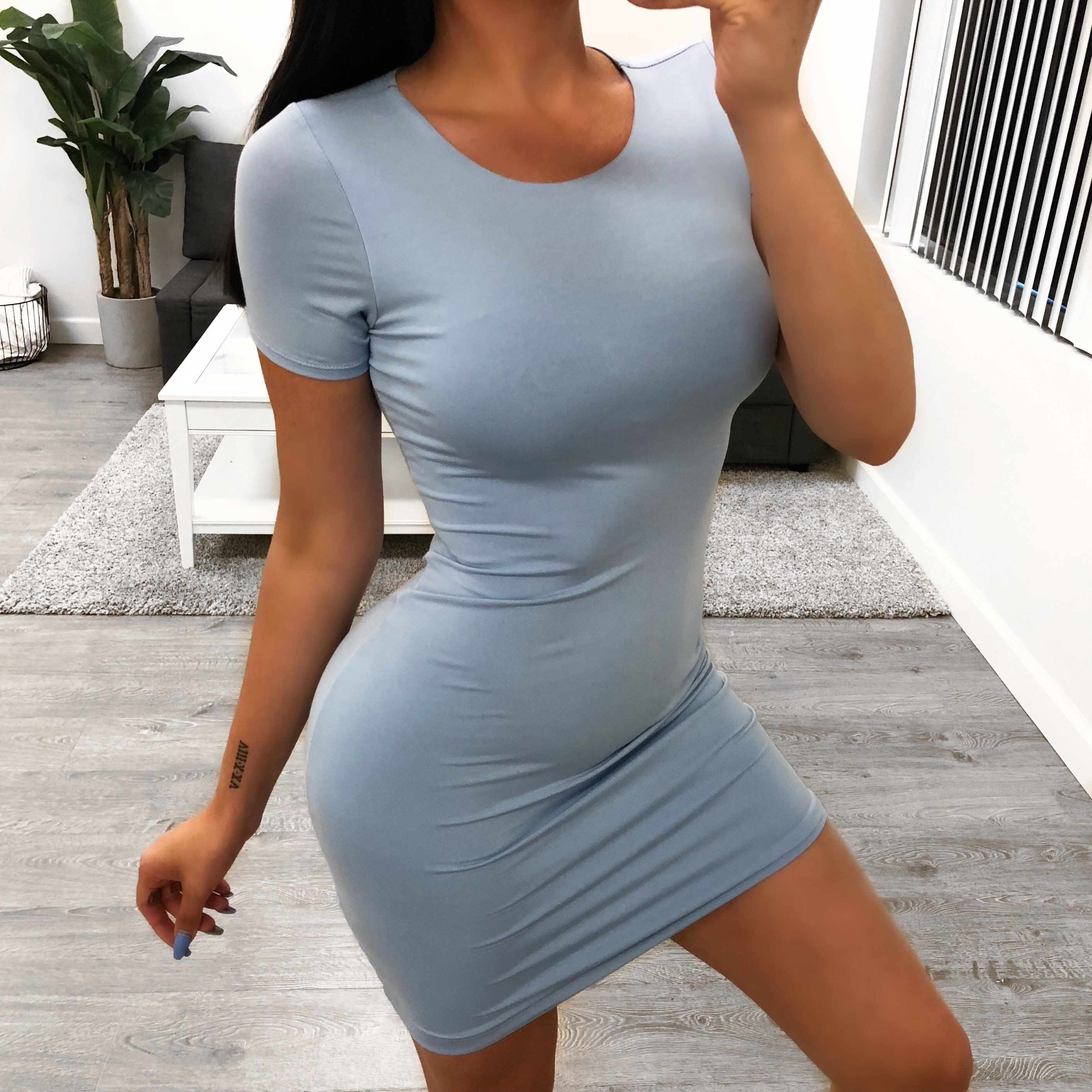skin tight t shirt dress