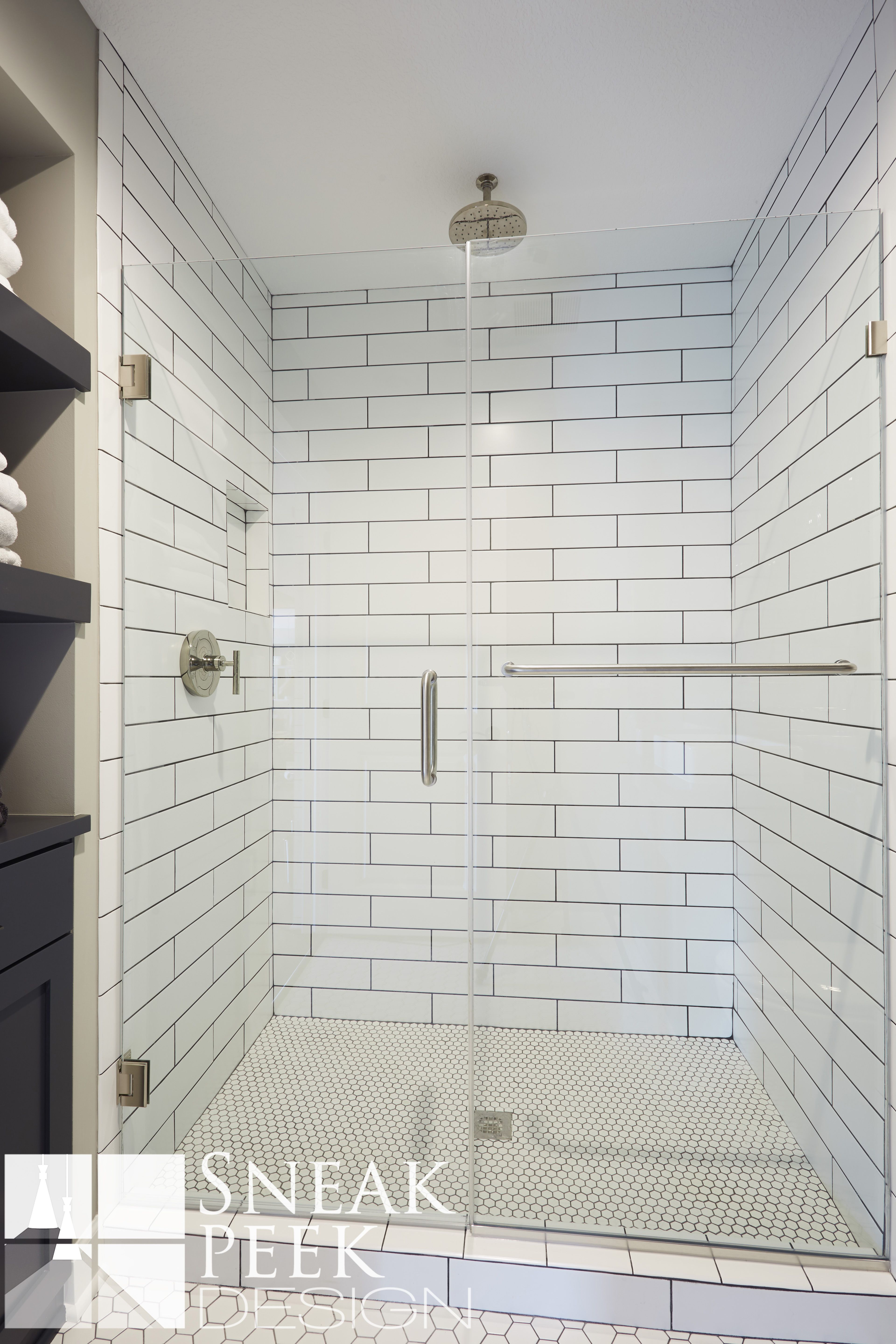 Industrial Bathroom Design, subway tile, navy blue cabinets, penny ...