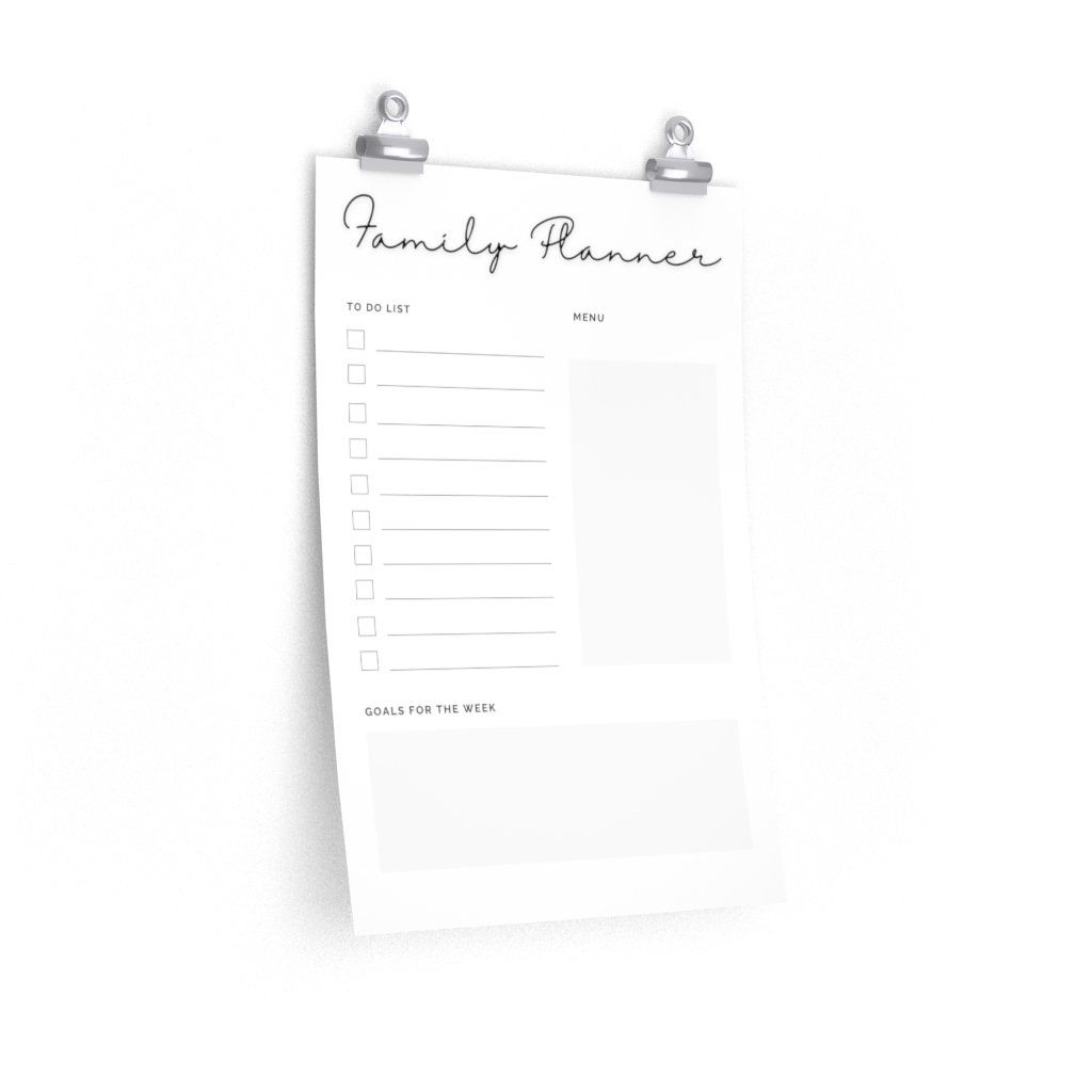 Photo of Simple Black and White Family Planner Print – 12″ × 18″