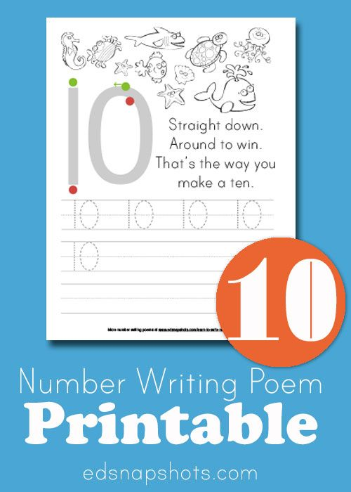 Learn To Write Numbers: Ten | Learning, Math and Free